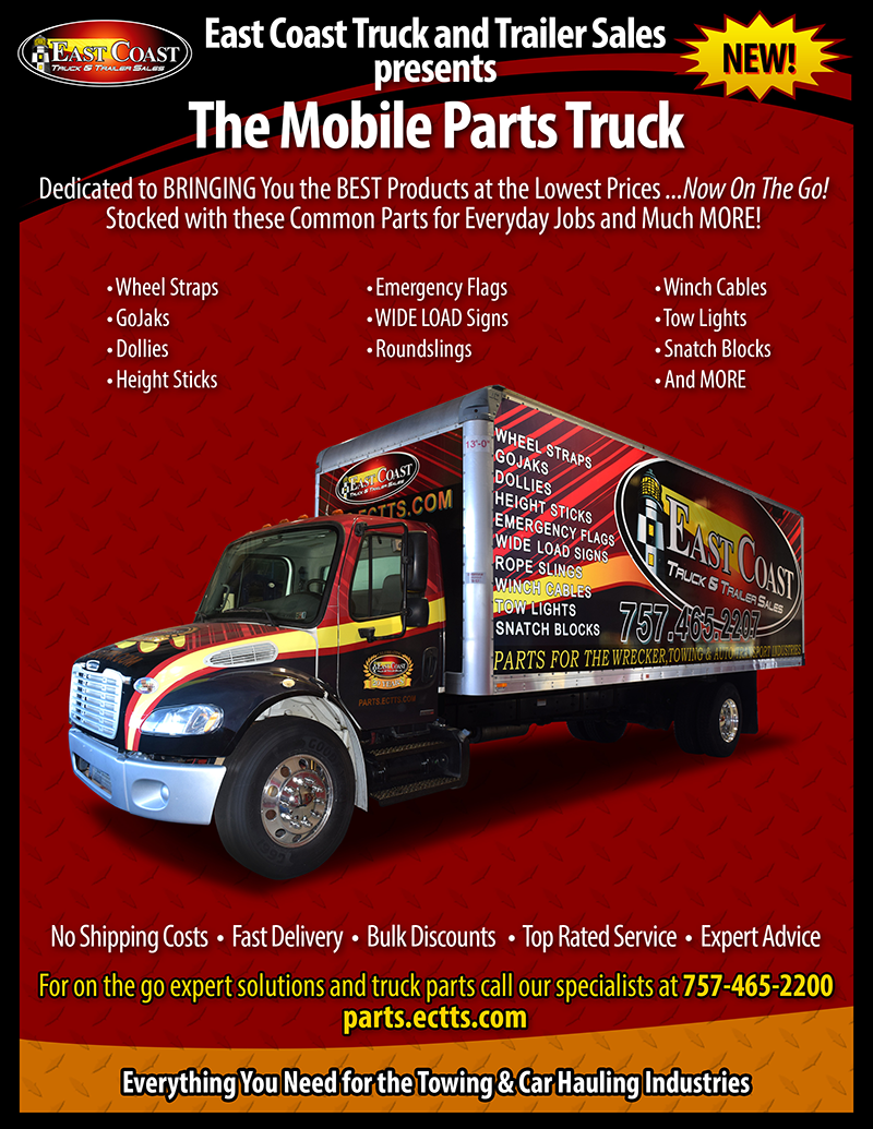 mobile parts truck delivering auto hauler, towing, and car hauler supplies